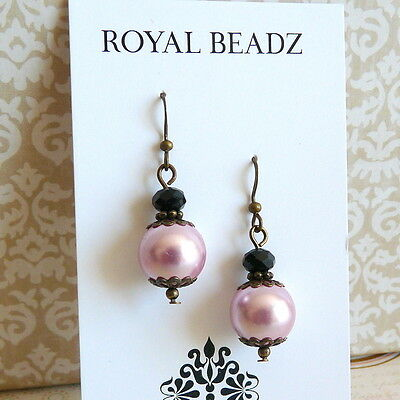 Victorian Vintage Style Pink Pearl Black Crystal Bronze Drop Earrings #Q33