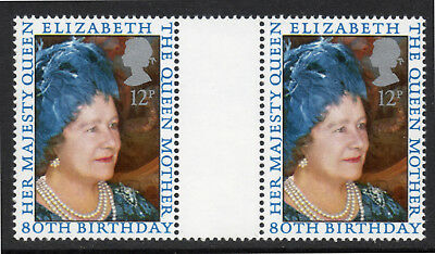 GB 1980 80th Birthday of QE the Queen Mother. Gutter Pair., SG 1129. MNH.