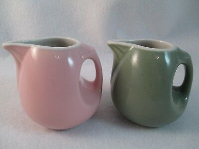 2 Vintage mini Hall creamers pitchers syrup pink & green 2074 USA miniature