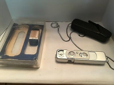 Vintage Minox B Spy Camera With  Leather Carrying Case and Plastic Case