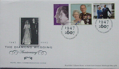 GB stamps, QE2 Diamond Wedding FDC 2007 and sleeve. Royal Mail.
