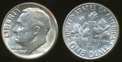 United States, 1949 Dime, Roosevelt (Silver) - Uncirculated