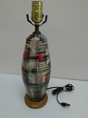 Vintage Mid Century Modern Studio Art Pottery Table Lamp Italian ? Works !