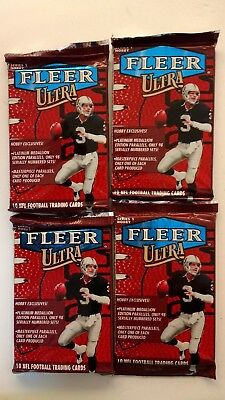 4 x sealed 1998 Fleer Ultra NFL football packs - 10 cards per pack