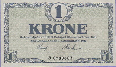 Denmark 1 Krone Banknote 1921 Choice Extra Fine Condition Cat#12-H-0483