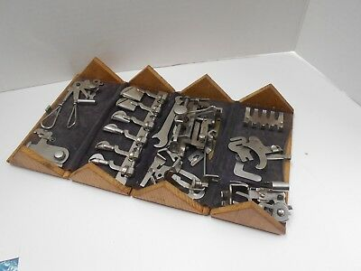 Antique 1900 Singer Sewing attachments in beautiful puzzle box