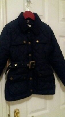 J Jeans navy quilted Barbour-style belted jacket, age 7-8, LOOK!