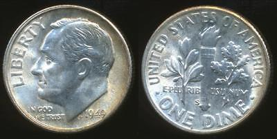 United States, 1949-S Dime, Roosevelt (Silver) - Uncirculated