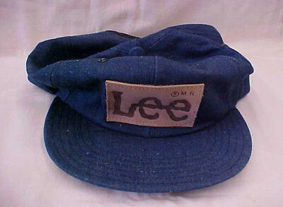 New old stock vintage LEE denim w/ leather patch trucker hat cap Made in U.S.A.