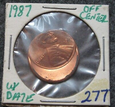 1987 Lincoln Cent 35% Struck Off Center