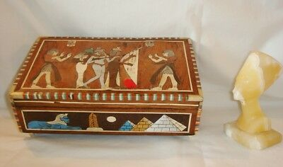 VERY RARE Antique Egyptian Artifacts: Jewelry Box & Marble Queen Nefertiti Bust