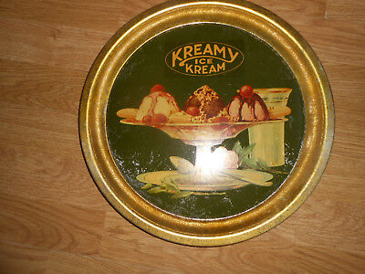 Vtg Early Kreamy Ice Kream General Store Metal Serving Tray Advertise Antique