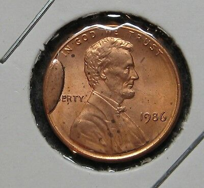 1986 Lincoln Cent Large Cud 9 O'clock Uncirculated