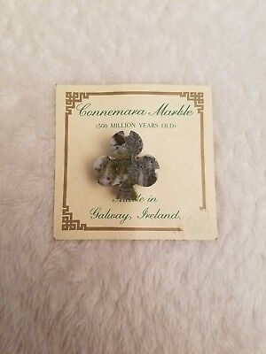 Connemara Marble Three Leaf Clover Pin Made In Galway Ireland - New