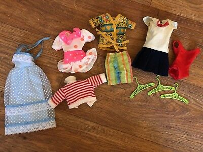 Large Lot VINTAGE Barbie Skipper Stacie Mod Homemade Clothes Dresses Sweater