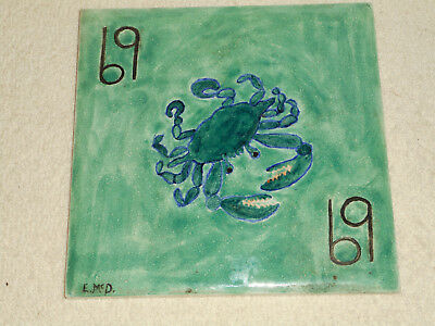WHEELING CUSHION Ceramic Pottery Tile Hand Painted CANCER The Crab Signed E.MCd