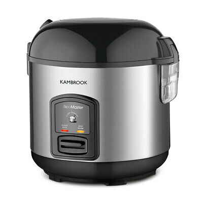 Kambrook Stainless Steel Electric 10 Cup Rice Cooker Pan/Steamer w/Steaming Tray