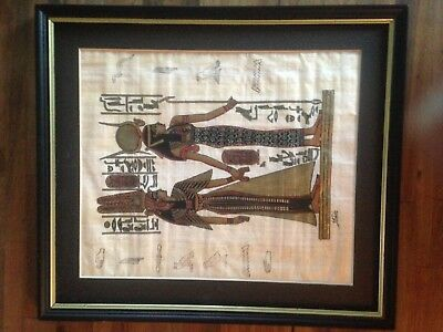 Vintage Hand Painted Egyptian Papyrus - Goddess Isis Queen Nefertari Framed