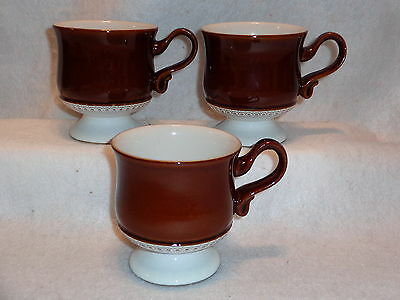 Denby Langley COGNAC FOOTED CUPS Tea Coffee Mugs Lot x 3 Brown Made In England
