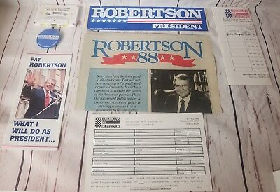 7 Piece Lot Pat Robertson Presidental Campaign Marketing Pieces Pin Sticker Etc.