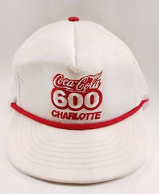 Vintage 1980's Coca-Cola 600 Charlotte Nascar Hat Cap Snap back Racing White Red