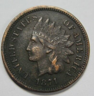1871 Indian Head Cent Penny Full Liberty IHC 1c Old US Coin Lot NR ED1 R05