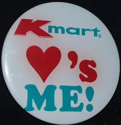 Vintage K-Mart Loves Me Department Store Advertising Pinback Button