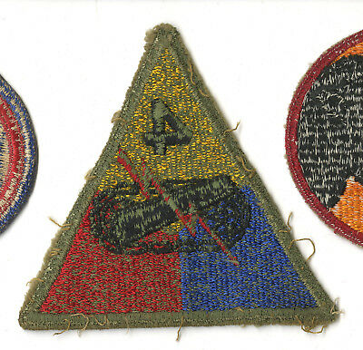 Wwii Original 4Th Armored Division Green Back Patch Normandy Bastogne Europe