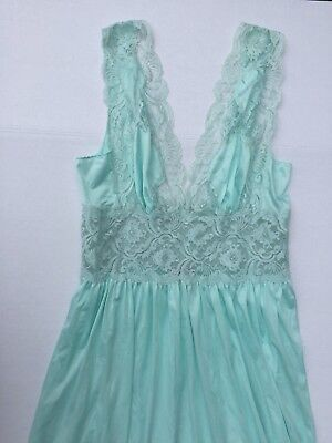 Lily Of France Vintage Nightgown Satin Lace Blue Usa Union Made