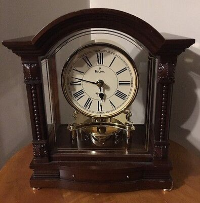 Bulova Bardwell Mantel Clock B1987 Antique Walnut Wood Finish Mantle Shelf Chime