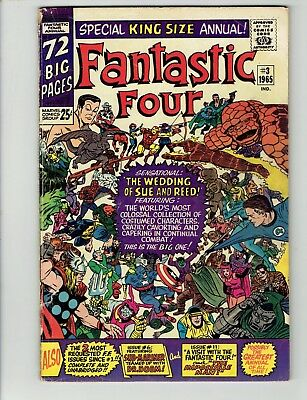 Fantastic Four Annual #3(1965, Marvel) Sue and Reed Wedding-No Reserve/Free Ship