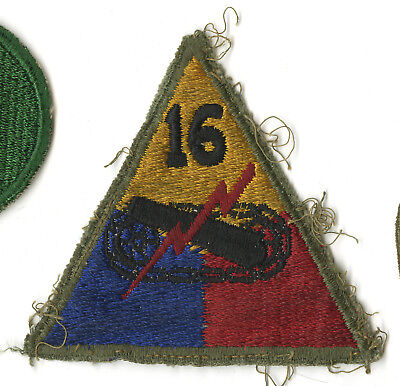 Wwii Original 16Th Armored Division White Back Patch Germany Czechoslovakia