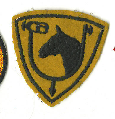 Wwii Original 61St Cavalry Division White Back Patch On Wool New York New Jersey