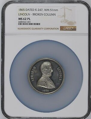 1865 Abraham Lincoln 51mm Broken Column Memorial Medal by William Key NGC MS62