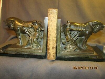 """Beaux Arts Bronze Bookends """"women Toiling With Draft Horse""""on Green Marble Bases"""