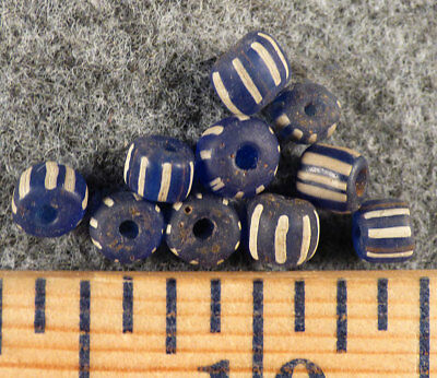 10 Huron Indian Cobalt Blue Glass False Chevron Trade Beads Fur Trade 1800s