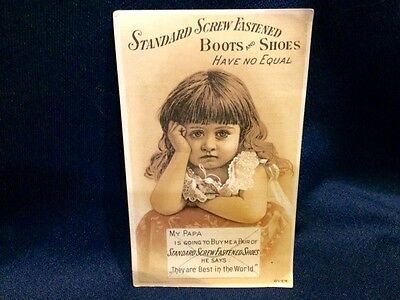 Standard Screw Boots Shoes Victorian Trade Card J Wolslayer Easton PA Cute Girl