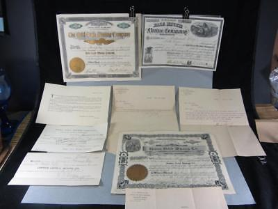 Antique Gold Mining Certificates Emma Gold Eagle Fall River w/ Letters Receipts