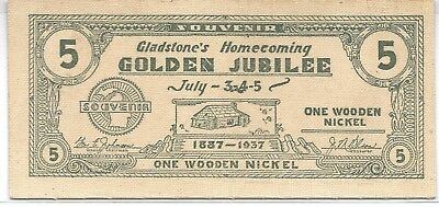 1937 Wooden Nickel-Gladstone's Homecoming Golden Jubilee, Gladstone, Michigan