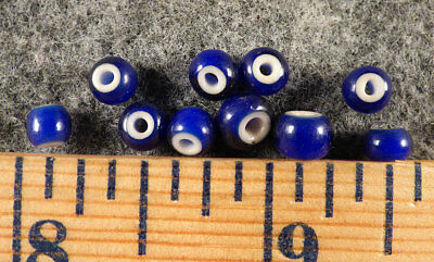 Original Plains Indian Blue White Heart Trade Beads Venetian Pre1800 Medium Size