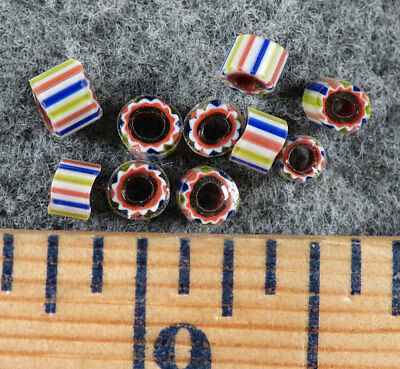 (10) Original Watermelon striped Huron Indian Trade Beads Fur Trade 1700's