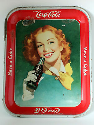 "Vintage 1948-1950 Coca Cola Metal Serving Tray Girl w Red Hair 10-5/8"" x 13-3/8"""