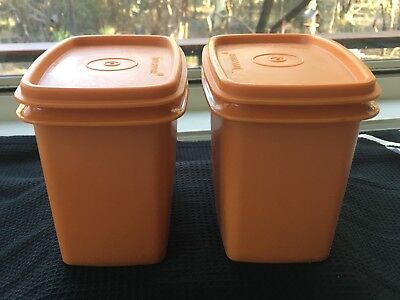 2 Vintage 70s Tupperware Rectangular Containers ,canisters.Retro orange.Stacking