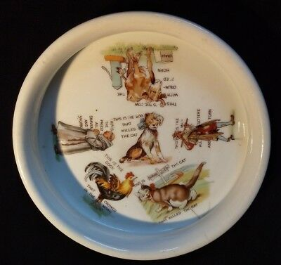 Antique Three Crown Baby Plate - This Is The House That Jack Built - Child Dish