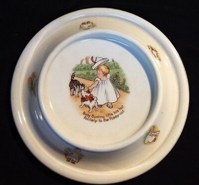 Antique 1905 Royal Baby Plate - Baby Bunting w/ Dog & Pussy Cat - Wide Base Dish