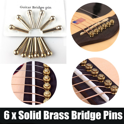 6 Pcs Solid Brass Bridge Pins For Acoustic Guitar Strings Accessories DIY NK