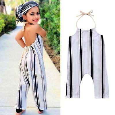 Toddler Infant Baby Girl Striped Backless Halter Romper Jumpsuit Outfit Playsuit