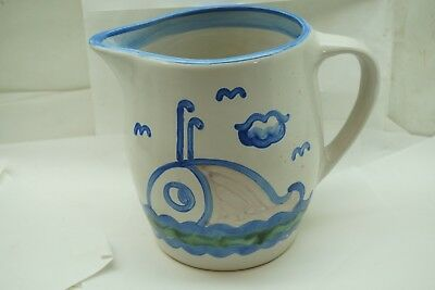 M A HADLEY POTTERY LARGE PITCHER WHALE SCENE 7.25in STONEWARE SIGNED VINTAGE