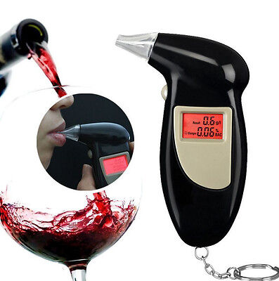 Portable Digital Alcohol Breathalyser Breath Tester LCD + 5x Mouthpieces AG