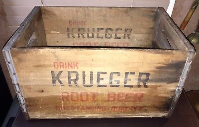"Vintage KRUEGER ROOT BEER ""Outstanding Quality"" Wooden Crate 1930/40's Newark NJ"